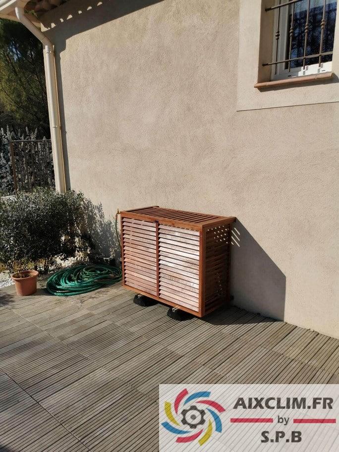 Cache groupe climatisation bois à Fuveau